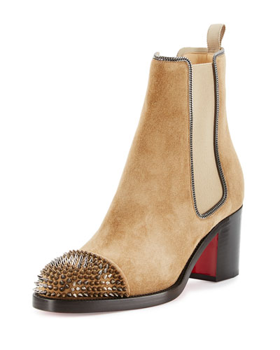 Otaboo Spike-Toe 70mm Red Sole Bootie, Camel