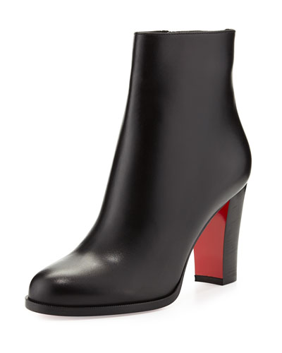 Adox Leather 85mm Red Sole Ankle Boot, Black