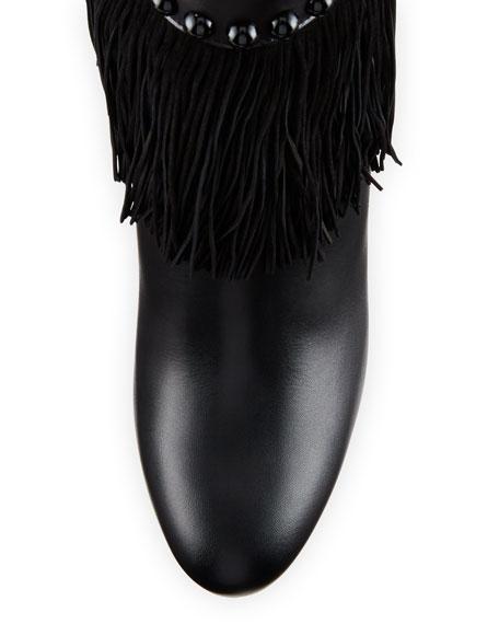 Tudor Jo Fringed Red Sole Boot, Black