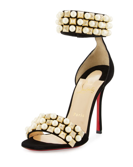 Christian Louboutin Tudor Studded Red Sole Sandal, Black