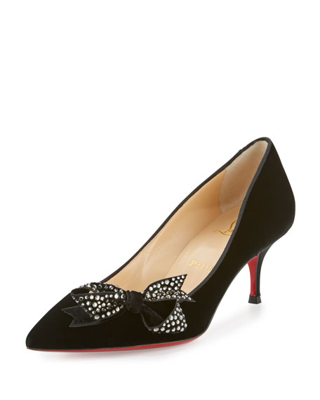 Mlle Menule Velvet 55mm Red Sole Pump, Black