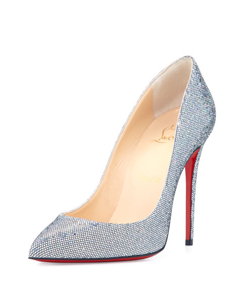 new arrival 590c3 b659d Christian Louboutin Pigalle Follies Glitter Red Sole Pump, Silver