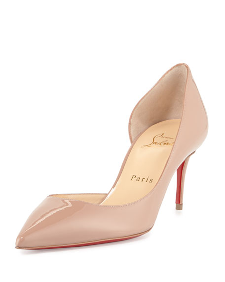 Christian Louboutin Iriza Patent Half-d'Orsay Red Sole Pump,