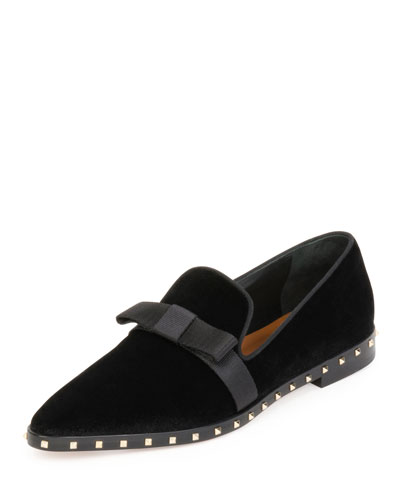 Soul Stud Velvet Bow Loafer, Black (Nero)