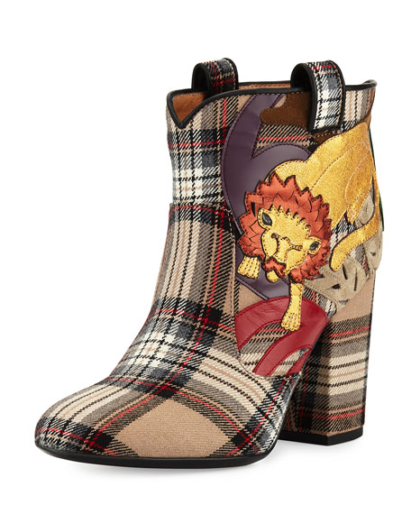 Laurence Dacade Pete Plaid Lion Ankle Boot, Beige/Multi