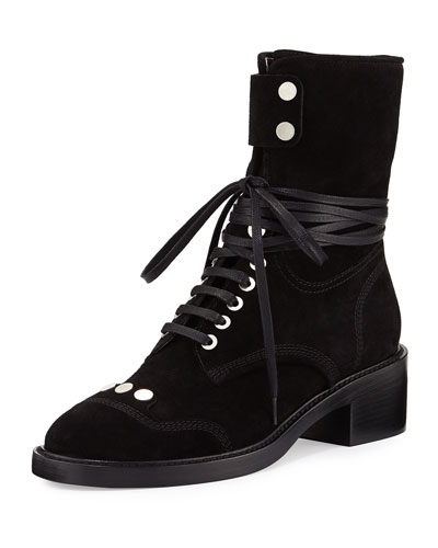 Manu Suede Lace-Up Boot, Black