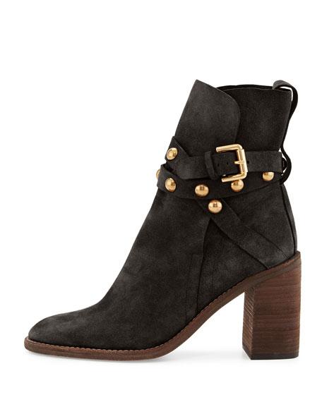 Janis Suede Block-Heel Boot, Asphalt/Charcoal