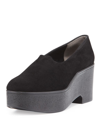 Xalo Stretch-Suede Wedge Pump, Black