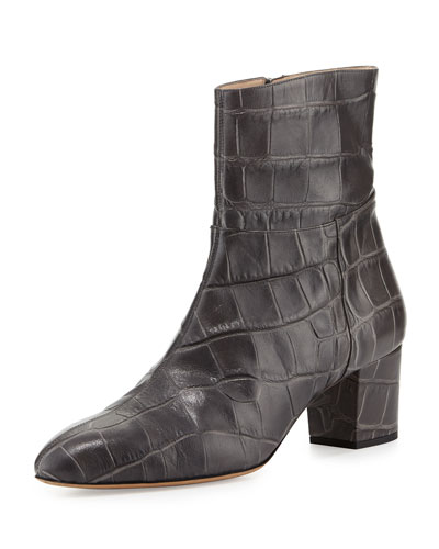 Callie Croc-Embossed Ankle Boot