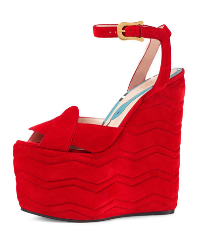 Sally Suede Platform Wedge Sandal, Red