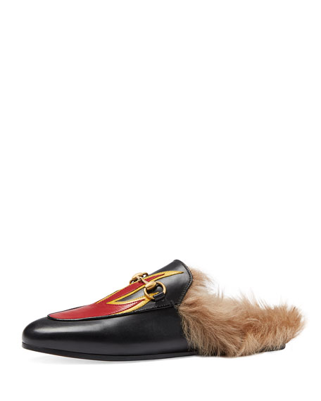 46ebab2c528 Gucci Princetown Fur-Lined Flame Slipper