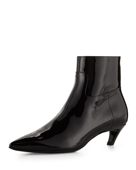 Image 1 of 1: Patent Crooked-Heel Boot, Black (Noir)