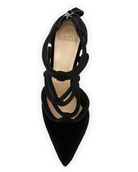 Knotted Suede Cage Pump, Black