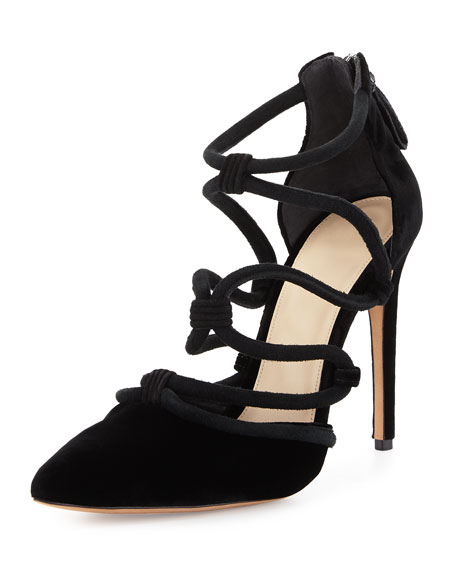 Alexandre Birman Knotted Suede Cage Pump, Black