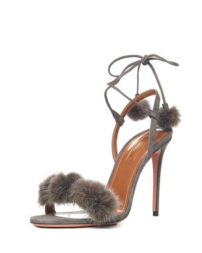 Wild Russian Mink Fur Sandal, Urban Gray