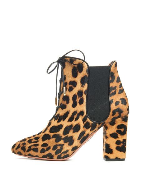 Victoria Calf-Hair Fur Bootie, Camel Leopard