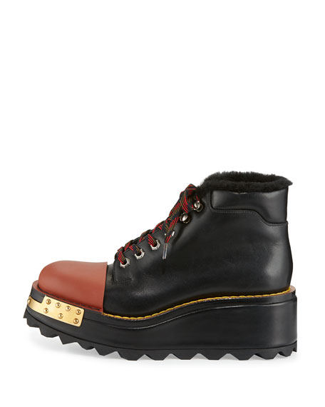 Shearling-Lined Leather Hiking Boot, Nero/Otto
