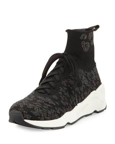 Maniac Knit High-Top Sneaker, Black/Fiesta