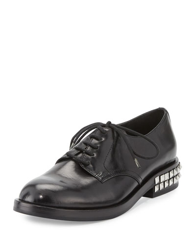 Winnie Lace-Up Stud-Heel Oxford, Black