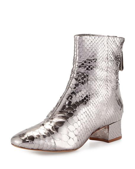 Alexandre Birman Jessie Metallic Python Ankle Boot,