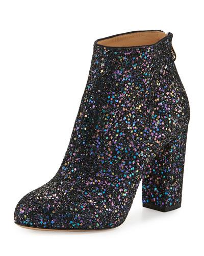 Alba Glitter Fabric Block-Heel Bootie, Night Sky Blue