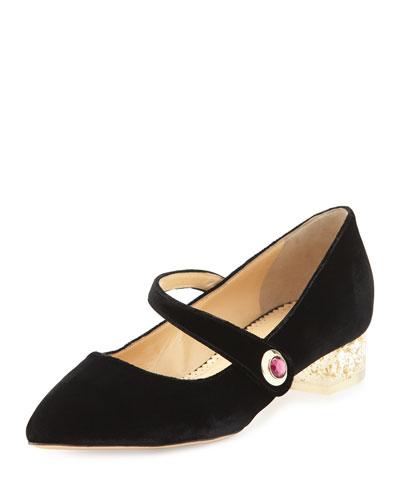 Uma Jeweled Mary Jane Flat, Black