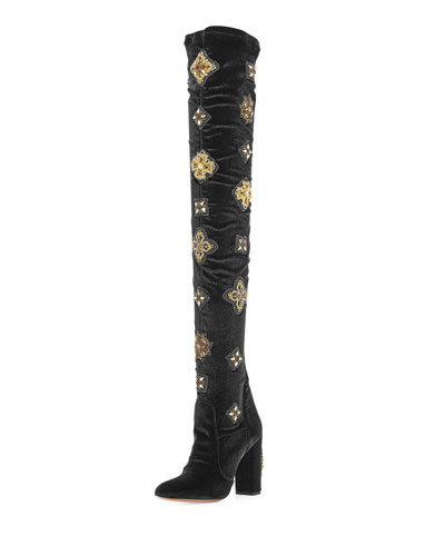 Imperial Embellished Velvet Over-the-Knee Boot, Black