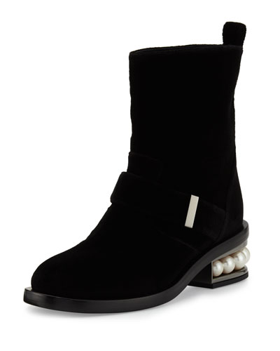 Casati Pearly Velvet Biker Boot, Black