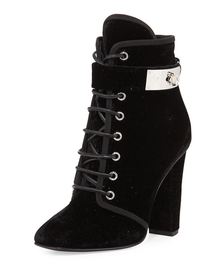 Giuseppe Zanotti Lace-Up Velvet Ankle-Buckle Boot, Black (Nero)