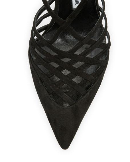 Fatista Suede Ankle-Wrap Pump, Black
