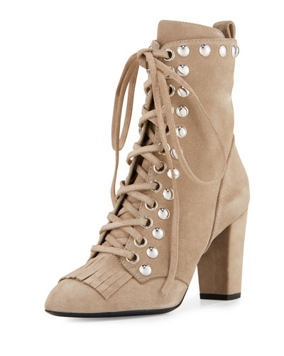 Studded Suede Kiltie Lace-Up Boot, Tan