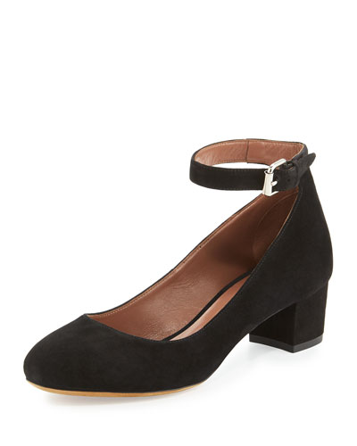 Martha Suede Ankle-Strap Pump, Black
