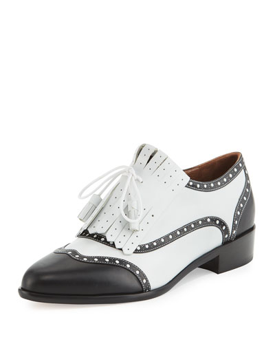 Glenna Brogue Kiltie Oxford, Black/White