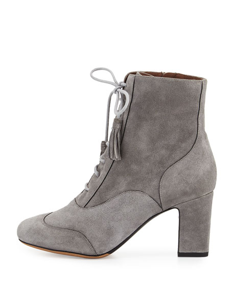 Afton Suede Lace-Up Bootie, Gray