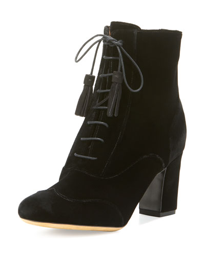 Afton Velvet Lace-Up Bootie, Black