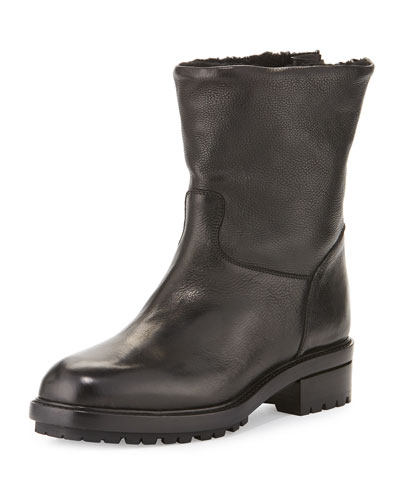 Shearling-Lined Leather Moto Boot, Black