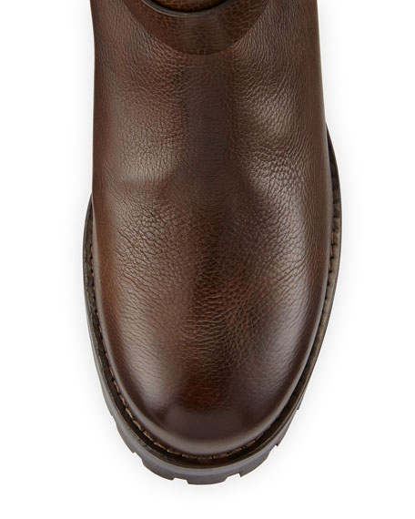 Fur-Lined Leather Moto Boot