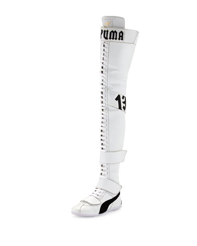 Eskiva Leather Over-the-Knee Sneaker Boot, White