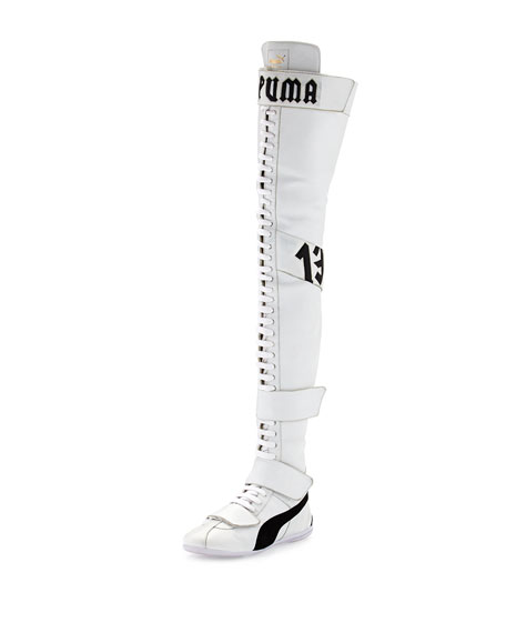brand new top-rated quality laest technology Eskiva Leather Over-the-Knee Sneaker Boot White