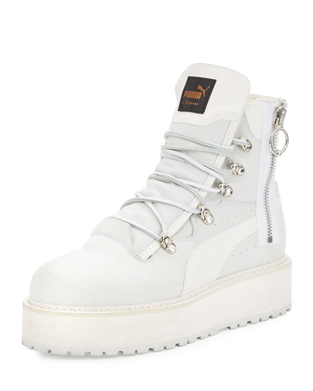 Leather Platform Sneaker Boot, White