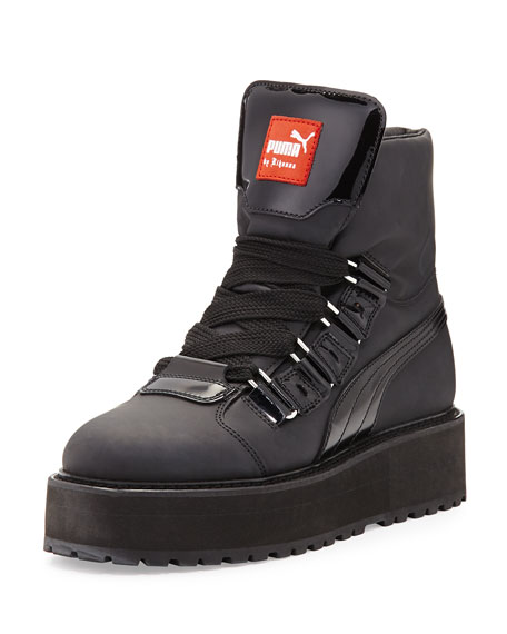Rubberized Leather Sneaker Boot, Black