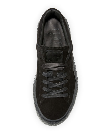 Satin-Trim Suede Creeper, Black