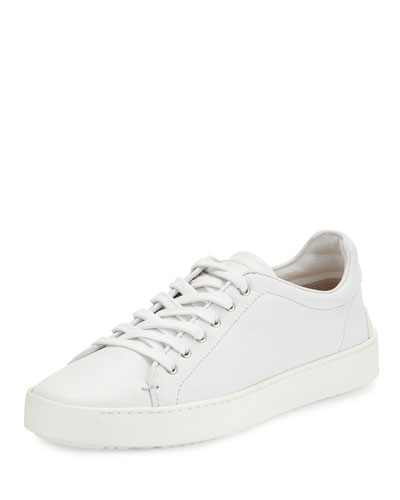 Kent Lace-Up Leather Low-Top Sneaker, White