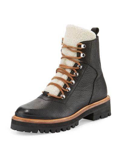 Isa Shearling Fur-Lined Hiking Boot, Black