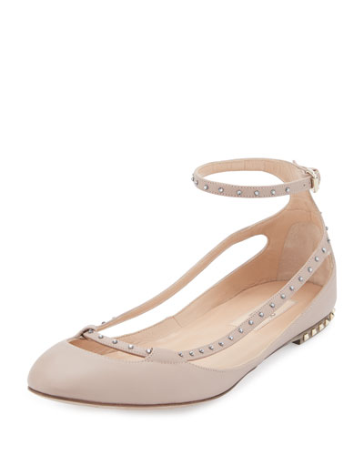 Stardust Babe Leather Ballerina Rockstud Flat, Powder