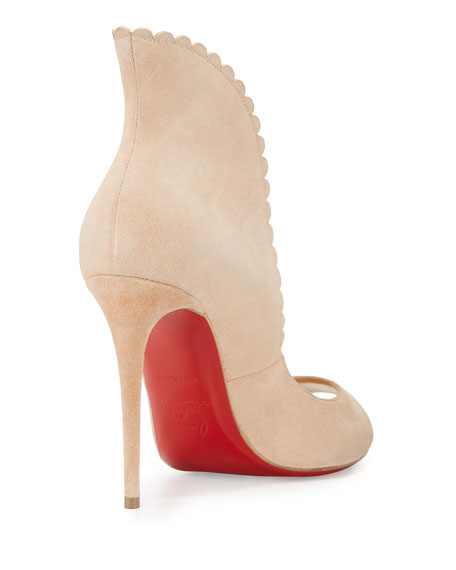 on sale 2f7b3 54eaa Pijonina Scalloped 100mm Red Sole Pump Nude