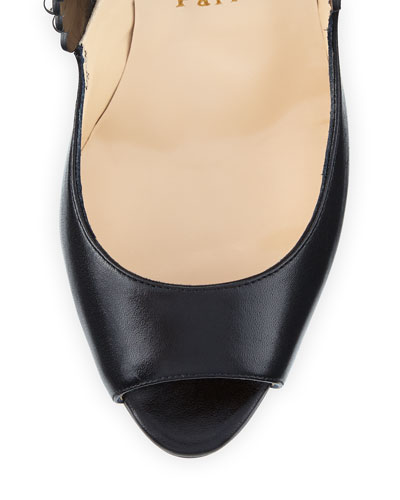 CHRISTIAN LOUBOUTIN Leathers ROUCOULOUCOU STUDDED RED SOLE PUMP, BLACK