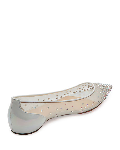Follies Embellished Skimmer Red Sole Flat, White