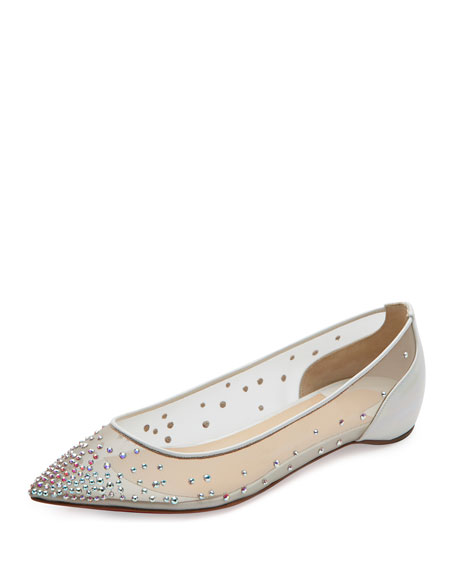 Christian Louboutin Follies Embellished Skimmer Red Sole Flat,