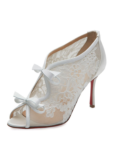 Christian Louboutin Empira Lace Red Sole Bootie, Version